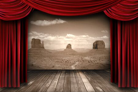 Bright Red Theater Curtain Drapes With Desert Mountain Background