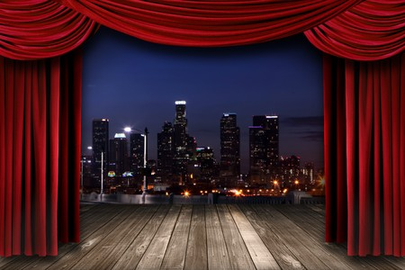 broadway show: Dramatic Theater Stage Curtain Drapes With a Night City as a Backdrop
