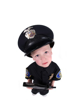Little Boy Dressed up as a Police Officer Top View Fisheye photo