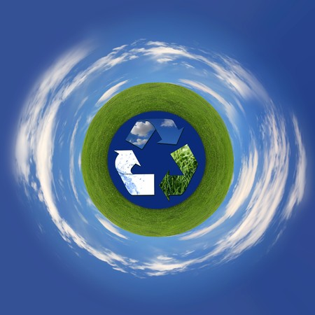 Recycling Symbol Representing Air, Land and Sea Surrounding Planet Earth Abstract photo
