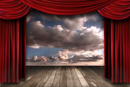 curtain theater: Hermoso escenario con cortinas de teatro de terciopelo rojo y dram�tico fondo de Sky