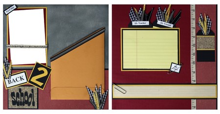 Back To School Square Frame Scrapbook Template-Insert your Photos! photo