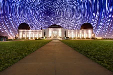 timelapse: Star Trail Timelapse  Behind the Griffith Observatory in Los Angeles, CA Stock Photo