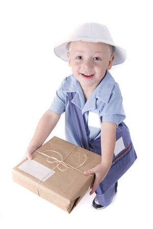 Little Boy Dressed as a Delivery Man With a Package photo