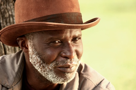 Face of an African American Homeless Man Outdoors photo