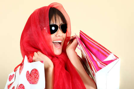 Fashionable Sexy Woman Shopping With Bags Stock Photo - 9863218