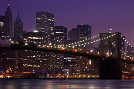 Brooklyn Bridge and Manhattan Skyline At Night, New York City photo