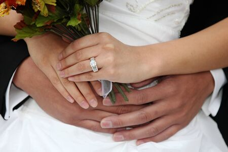 diamond ring: Happy Newlywed Couple on Their Wedding Day