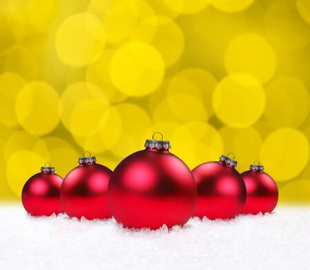 Red Christmas Holiday Bauble Bulbs on Golden Background