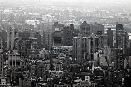 도시의 고층 빌딩 뉴욕시의 스카이 라인. 공중 맨하탄보기