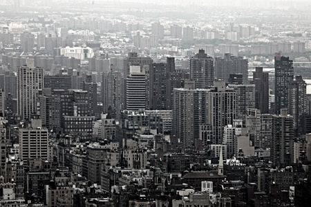 Urban Skyscrapers New York City Skyline. Aerial Manhattan View photo