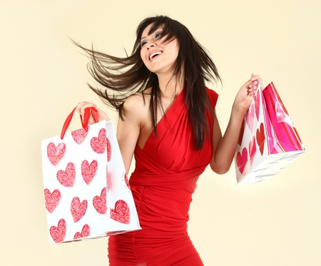 elation: Fashionable Sexy Woman Shopping With Bags