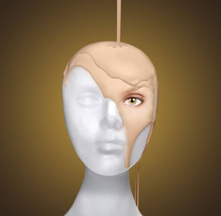 Dramatic Concept of Pouring a Face Onto a Mannequin Head Stok Fotoğraf