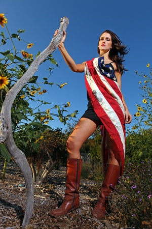 implied: Patriotic Flag Wearing Woman Outdoors in the Sun