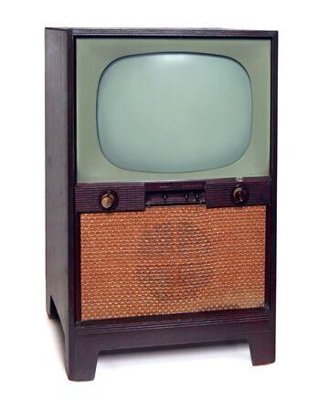 1950 빈티지 TV 텔레비전 흰색 배경에 고립 스톡 콘텐츠