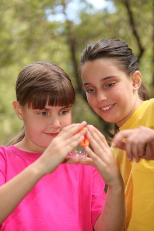 Sibling Girls Hunting for Insects While Camping Outdoors photo