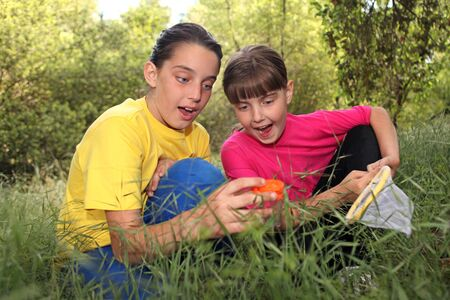 Sibling Girls Hunting for Insects While Camping Outdoors Stock Photo - 11227168