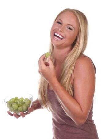 Happy Healthy Young Woman Eating Healthy Food Choices Stock Photo - 11226988
