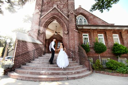 bridegrooms: Asian American Wedding Couple Outdoors