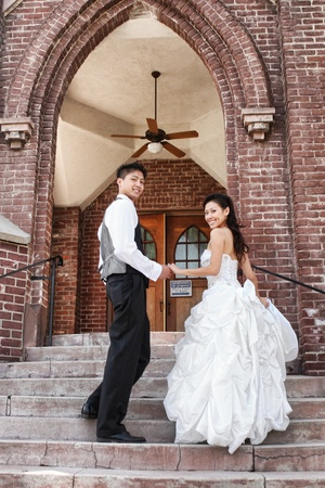 Asian American Wedding Couple Outdoors Stock Photo - 13098831