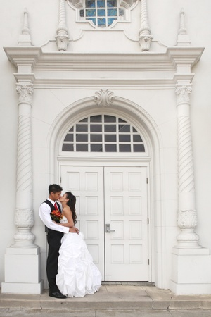 Asian American Wedding Couple Outdoors photo