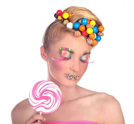 Candy Themed Styled Girl in Studio Stock Photo