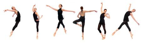 silueta bailarina: M�ltiples Ballet En Pointe Poses en el estudio con fondo blanco Foto de archivo