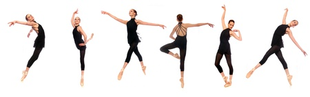 pointe: Multiple Ballet En Pointe Poses in Studio With White Background Stock Photo