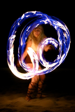 fire show: Beautiful Fire Dance on the Beach at Night