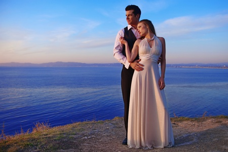 inlove: Wedding Couple on the Beach Happily Married Outdoors Stock Photo