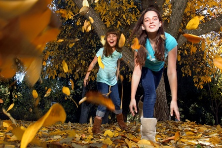 Children Playing and Throwing Leaves in an Autumn Forest in the Fall photo