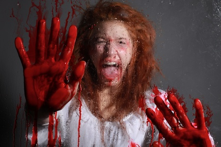 Woman in Horror Situation With Bloody Face Stock Photo - 13100293