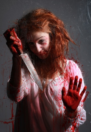 Woman in Horror Situation With Bloody Face Stock Photo - 13100012