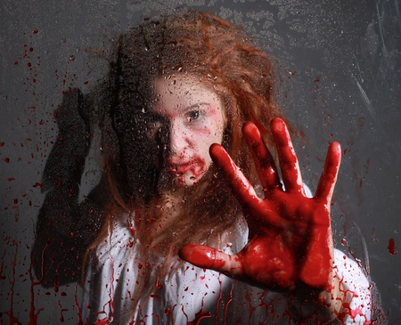 Woman in Horror Situation With Bloody Face Stock Photo - 13100302