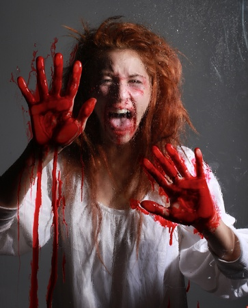 scarry: Woman in Horror Situation With Bloody Face