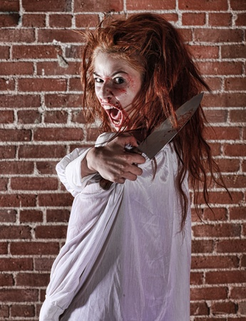 scary girl: Woman in Horror Situation With Bloody Face