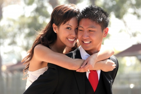 Asian American Wedding Couple Outdoors