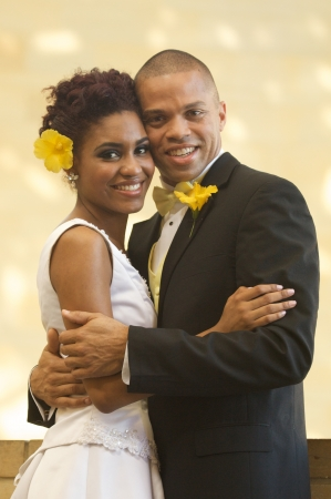 African American Bride and Groom on Their Wedding Day Stock Photo