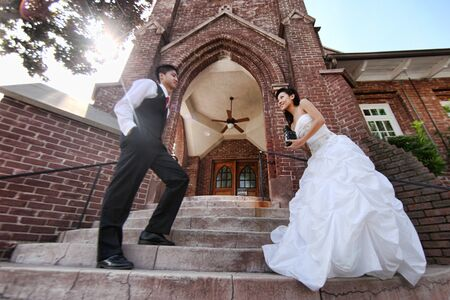 Asian American Wedding Couple Outdoors Stock Photo - 13100523