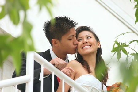 asian bride: Asian American Wedding Couple Outdoors