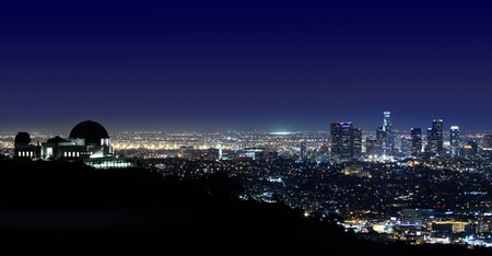 arial views: Arial View of Los Angeles Above Griffith Observatory Los Angeles, California