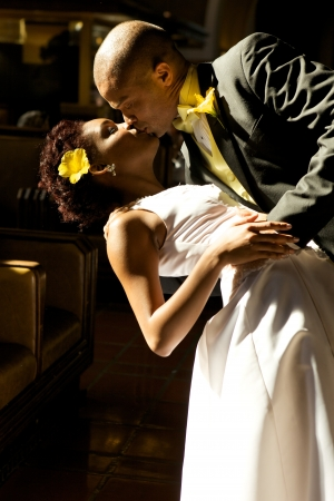African American Bride and Groom on Their Wedding Day Imagens