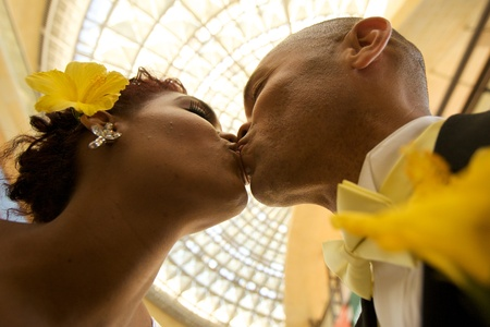 the happy bride: African American Bride and Groom on Their Wedding Day Stock Photo