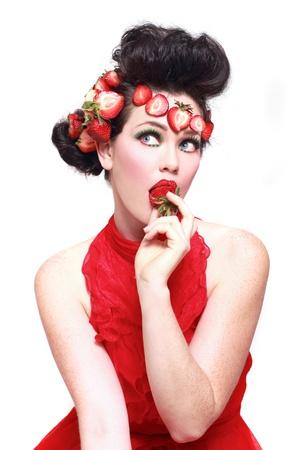 Beautiful Woman Wearing Strawberries in her Hair