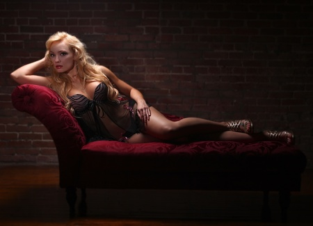 Beautiful Sexy Blonde Woman in Lingerie