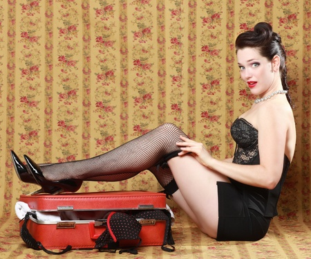 Sexy Pinup Style Vintage Image photo