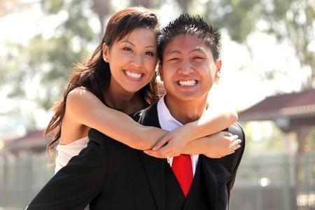 Asian American Wedding Couple Outdoors photo