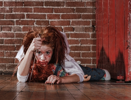 evil girl: Woman in Horror Situation With Bloody Face