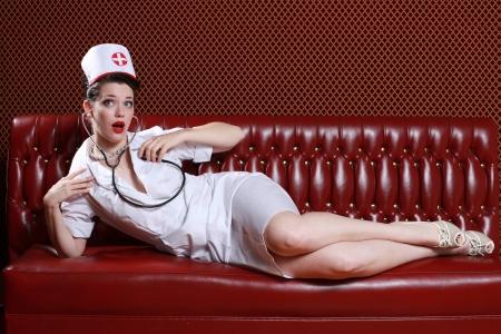 infermieri: Sexy Pinup Stile Immagine Vintage Archivio Fotografico