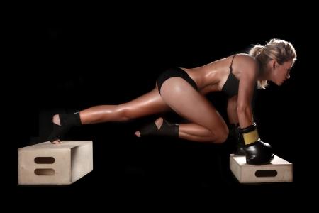 Intenzív női ökölvívó Gear Stock fotó